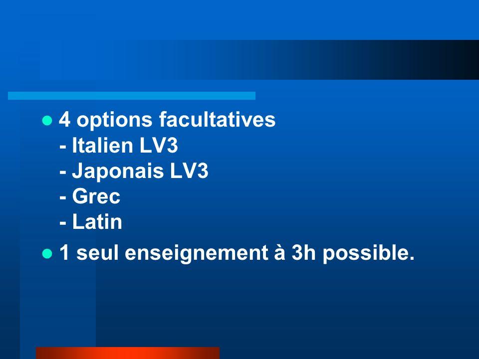 4 options facultatives - Italien LV3 - Japonais LV3 - Grec - Latin 1 seul enseignement à 3h possible.