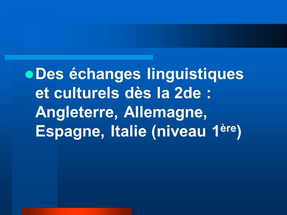 Des échanges linguistiques et culturels dès la 2de : Angleterre, Allemagne, Espagne, Italie (niveau 1 ère )