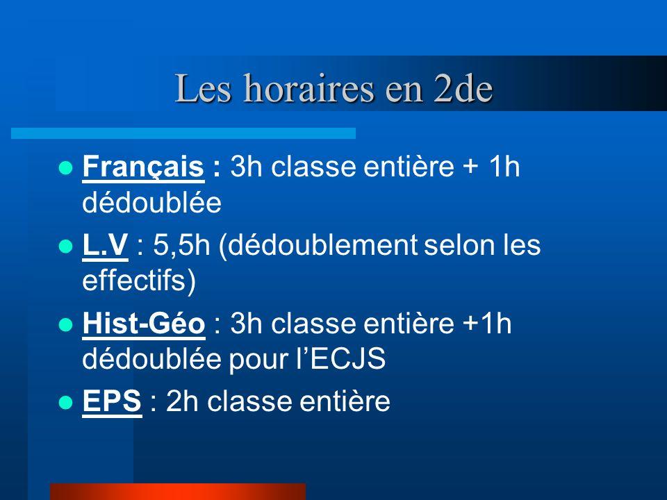 Les horaires en 2de Français : 3h classe entière + 1h dédoublée L.V : 5,5h (dédoublement selon les effectifs) Hist-Géo : 3h classe entière +1h dédoubl
