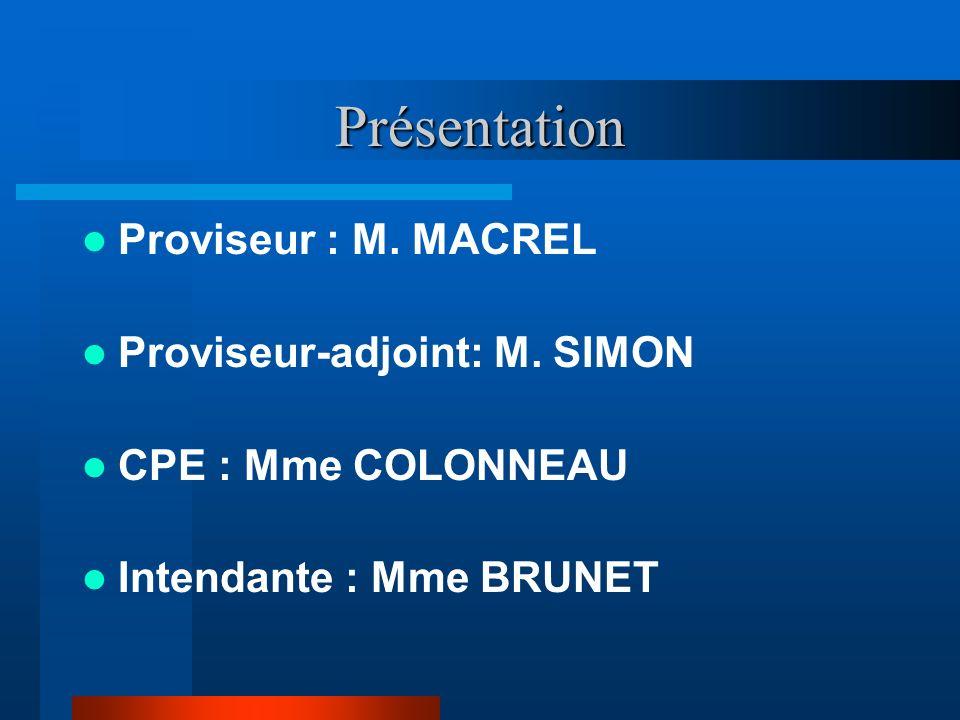 Présentation Proviseur : M. MACREL Proviseur-adjoint: M. SIMON CPE : Mme COLONNEAU Intendante : Mme BRUNET