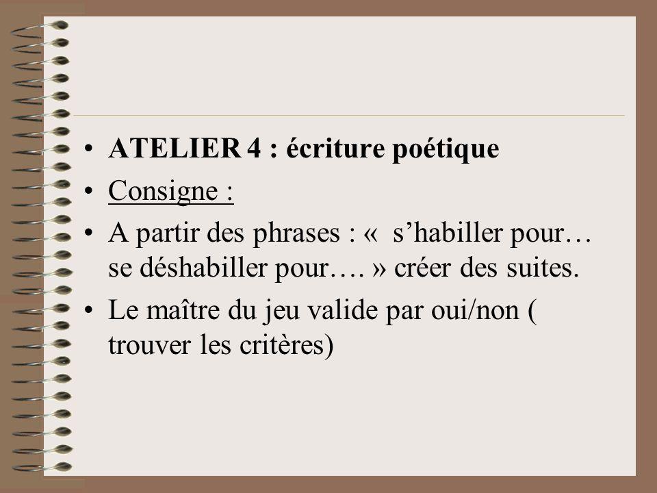 ATELIER 4 : écriture poétique Consigne : A partir des phrases : « shabiller pour… se déshabiller pour….