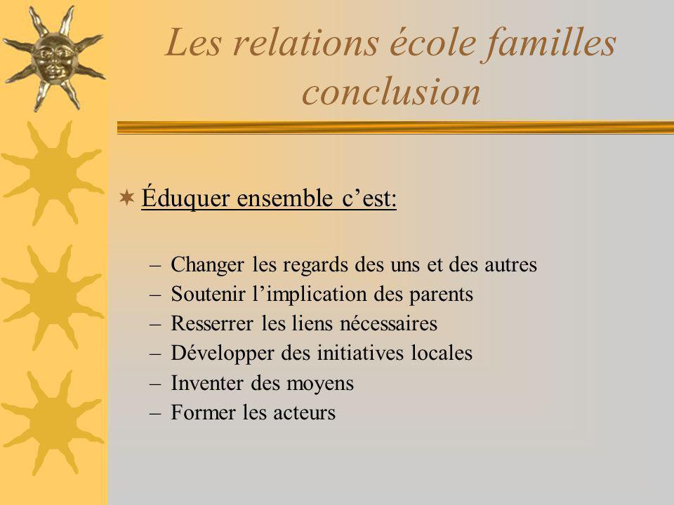 Les relations école familles conclusion Éduquer ensemble cest: –Changer les regards des uns et des autres –Soutenir limplication des parents –Resserre