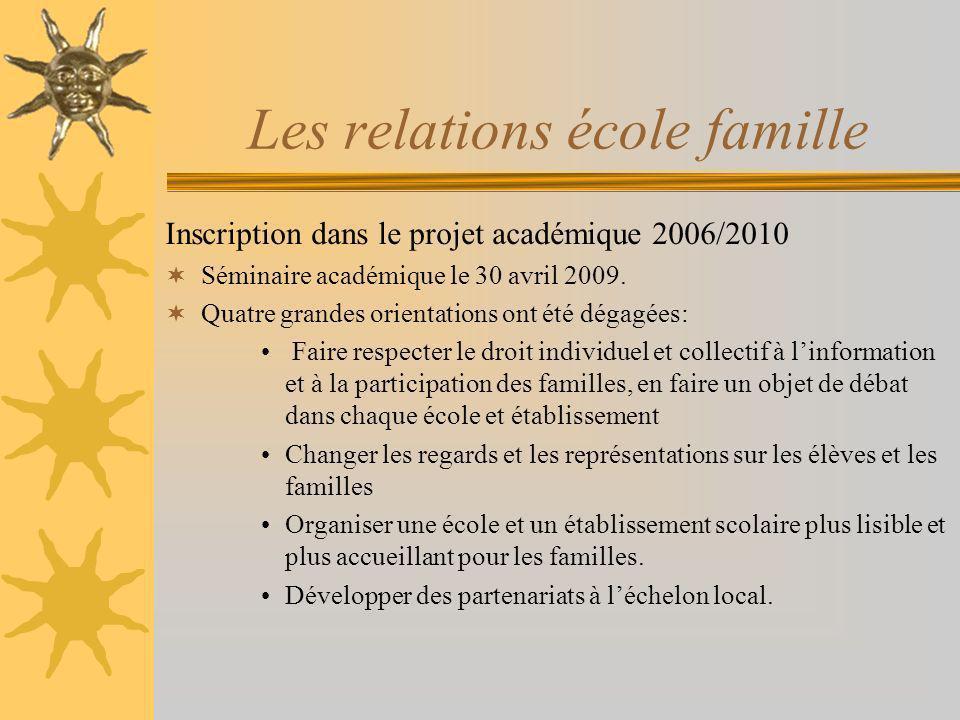 Les relations école famille Inscription dans le projet académique 2006/2010 Séminaire académique le 30 avril 2009. Quatre grandes orientations ont été