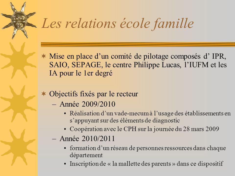 Les relations école famille Mise en place dun comité de pilotage composés d IPR, SAIO, SEPAGE, le centre Philippe Lucas, lIUFM et les IA pour le 1er d