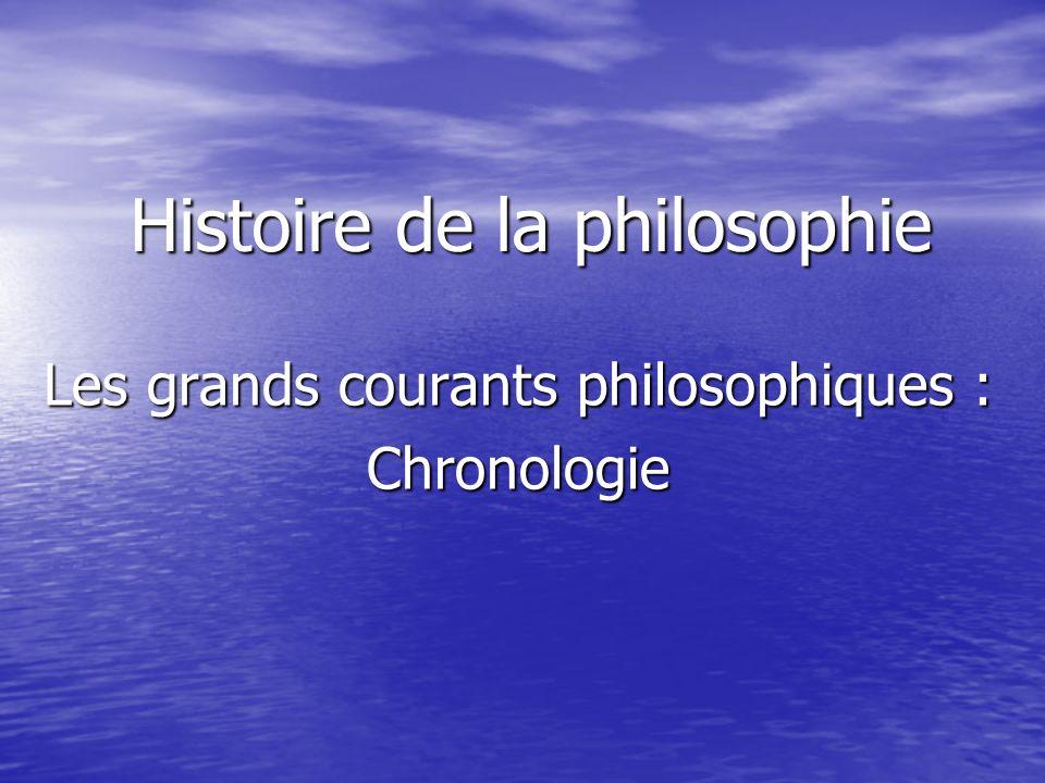 Histoire de la philosophie Les grands courants philosophiques : Chronologie
