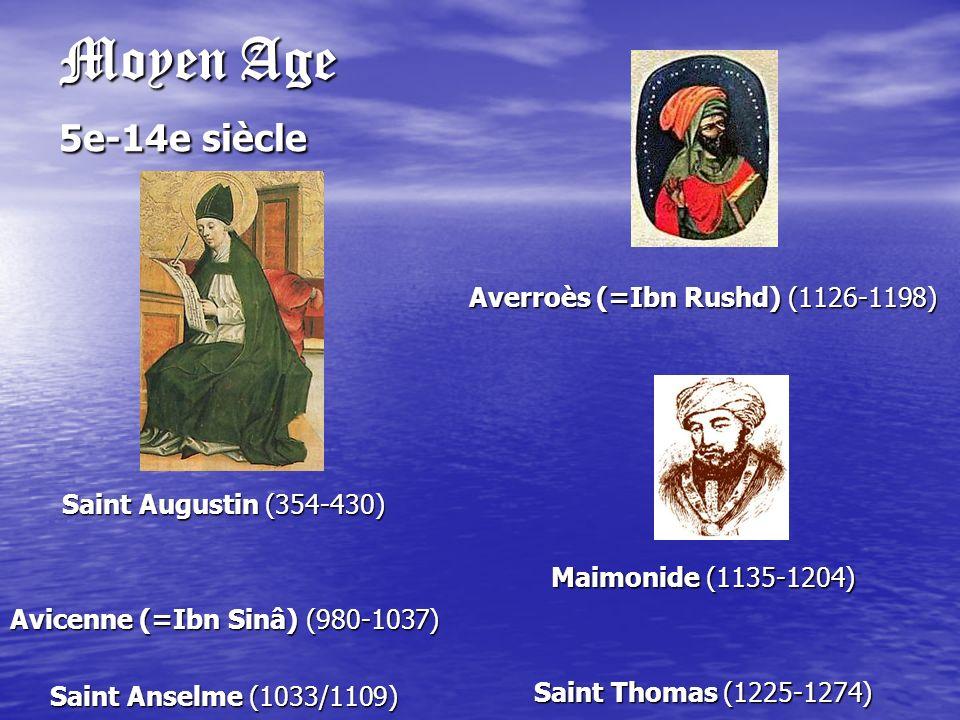 Moyen Age 5e-14e siècle Saint Augustin (354-430) Avicenne (=Ibn Sinâ) (980-1037) Saint Anselme (1033/1109) Averroès (=Ibn Rushd) (1126-1198) Maimonide