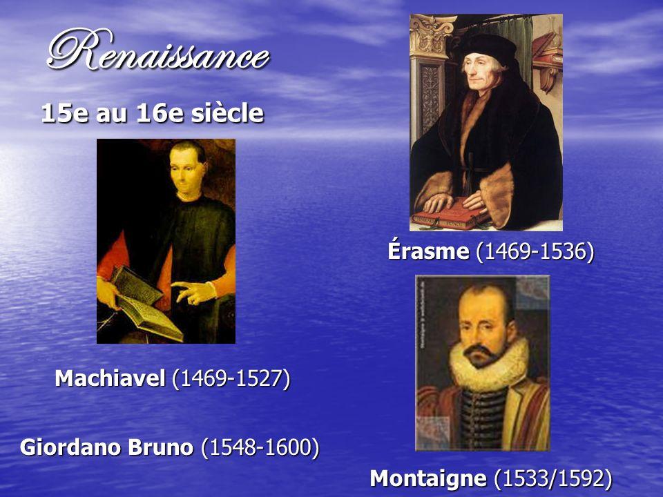 Renaissance 15e au 16e siècle Machiavel (1469-1527) Giordano Bruno (1548-1600) Érasme (1469-1536) Montaigne (1533/1592)
