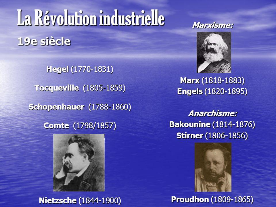 La Révolution industrielle 19e siècle Hegel (1770-1831) Tocqueville (1805-1859) Schopenhauer (1788-1860) Comte (1798/1857) Nietzsche (1844-1900) Marxi