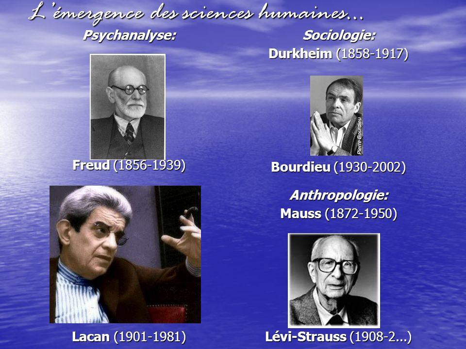 Lémergence des sciences humaines… Psychanalyse: Freud (1856-1939) Lacan (1901-1981) Sociologie: Durkheim (1858-1917) Bourdieu (1930-2002) Anthropologi