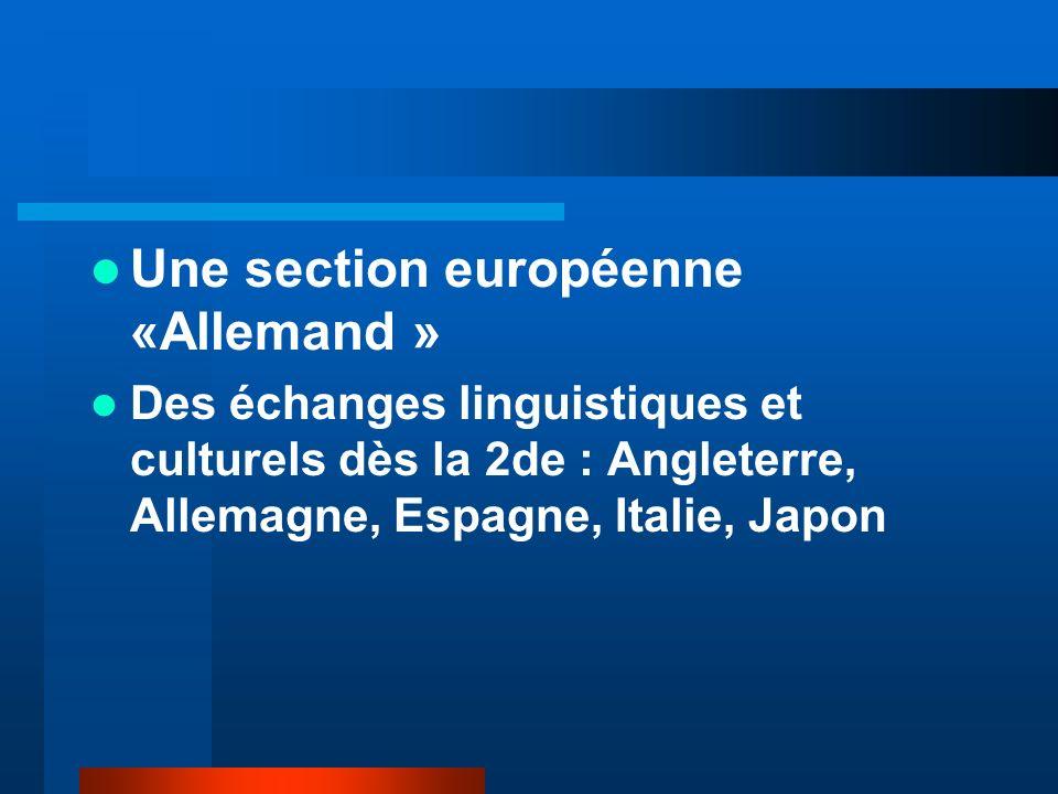 Une section européenne «Allemand » Des échanges linguistiques et culturels dès la 2de : Angleterre, Allemagne, Espagne, Italie, Japon