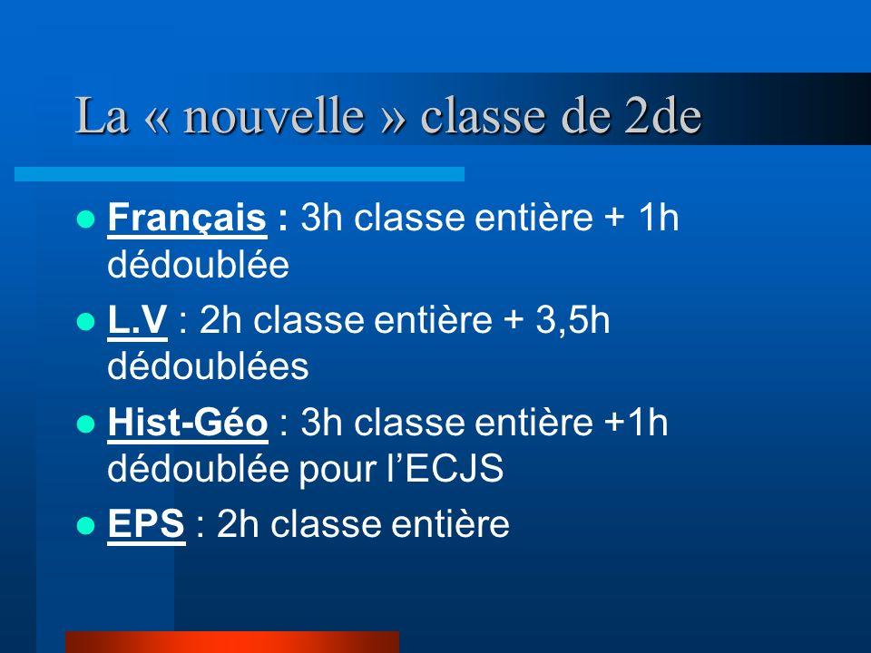 La « nouvelle » classe de 2de Français : 3h classe entière + 1h dédoublée L.V : 2h classe entière + 3,5h dédoublées Hist-Géo : 3h classe entière +1h dédoublée pour lECJS EPS : 2h classe entière