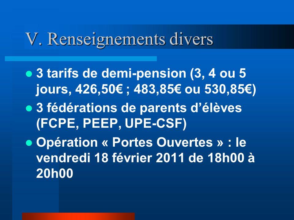 V. Renseignements divers 3 tarifs de demi-pension (3, 4 ou 5 jours, 426,50 ; 483,85 ou 530,85) 3 fédérations de parents délèves (FCPE, PEEP, UPE-CSF)