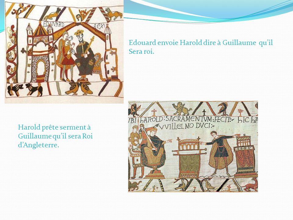 Edouard envoie Harold dire à Guillaume quil Sera roi. Harold prête serment à Guillaume quil sera Roi dAngleterre.