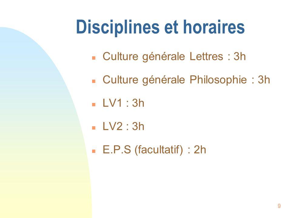 9 Disciplines et horaires n Culture générale Lettres : 3h n Culture générale Philosophie : 3h n LV1 : 3h n LV2 : 3h n E.P.S (facultatif) : 2h