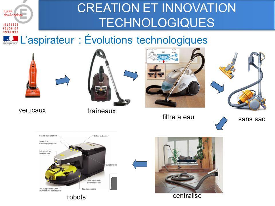 Laspirateur : Évolutions technologiques sans sac verticaux traîneaux filtre à eau robots centralisé CREATION ET INNOVATION TECHNOLOGIQUES