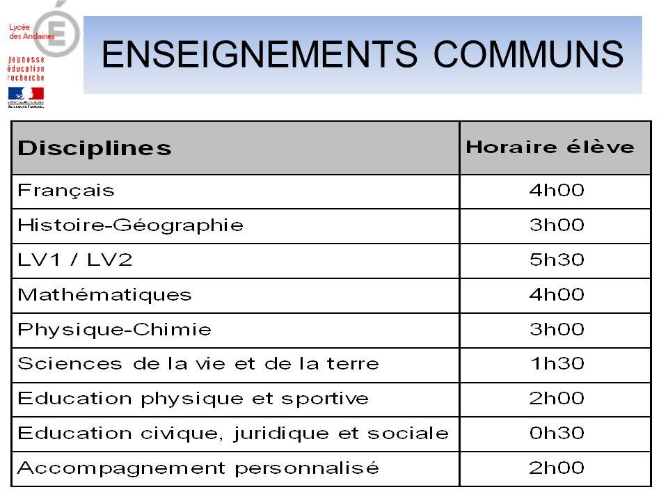 ENSEIGNEMENTS COMMUNS