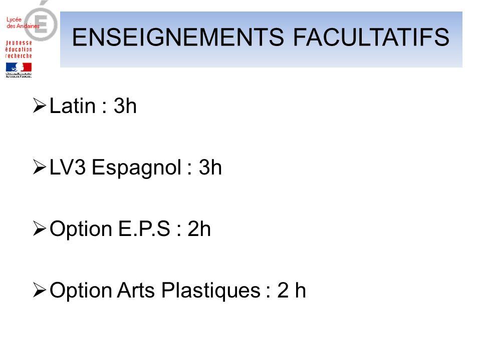 ENSEIGNEMENTS FACULTATIFS Latin : 3h LV3 Espagnol : 3h Option E.P.S : 2h Option Arts Plastiques : 2 h