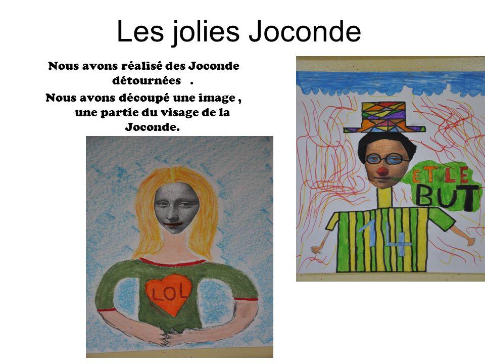 Les jolies Joconde Nous avons réalisé des Joconde détournées. Nous avons découpé une image, une partie du visage de la Joconde.