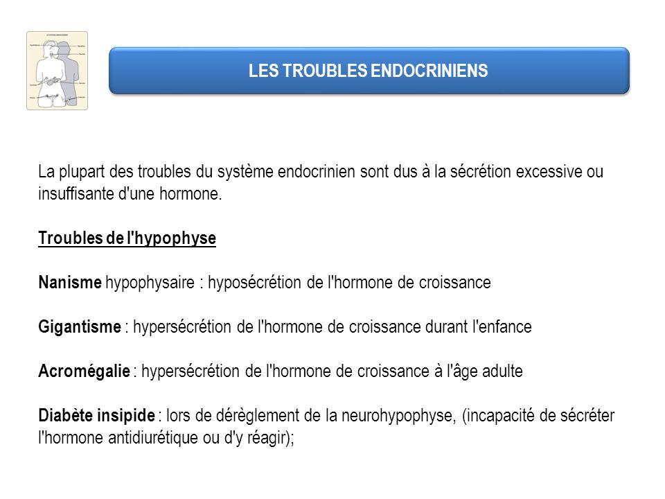 LES TROUBLES ENDOCRINIENS La plupart des troubles du système endocrinien sont dus à la sécrétion excessive ou insuffisante d'une hormone. Troubles de