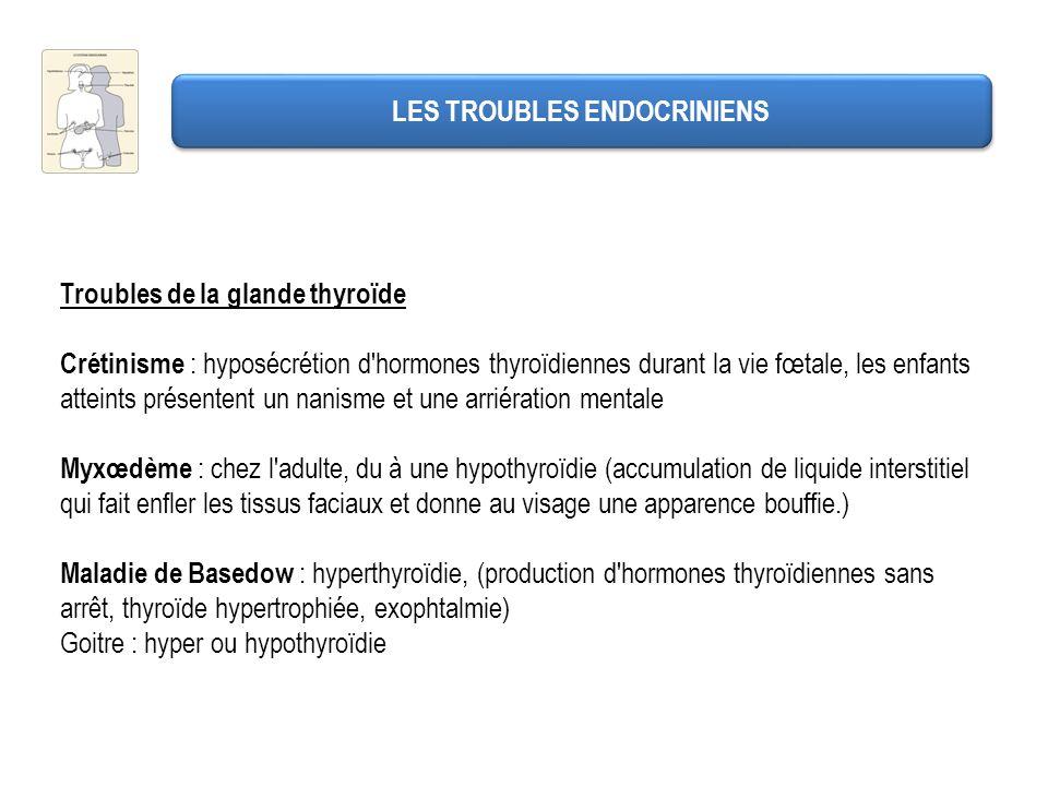 LES TROUBLES ENDOCRINIENS Troubles de la glande thyroïde Crétinisme : hyposécrétion d'hormones thyroïdiennes durant la vie fœtale, les enfants atteint
