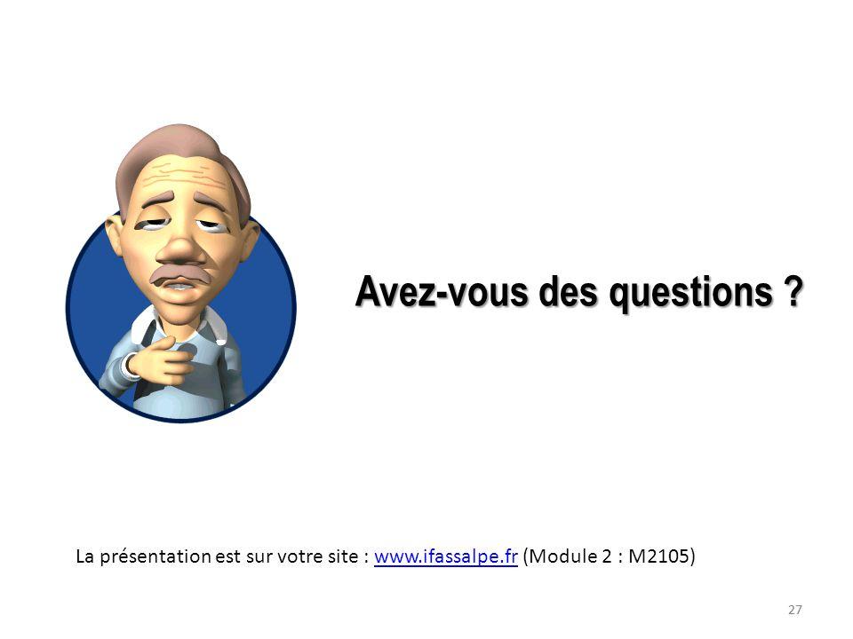 27 Avez-vous des questions ? La présentation est sur votre site : www.ifassalpe.fr (Module 2 : M2105)www.ifassalpe.fr 27