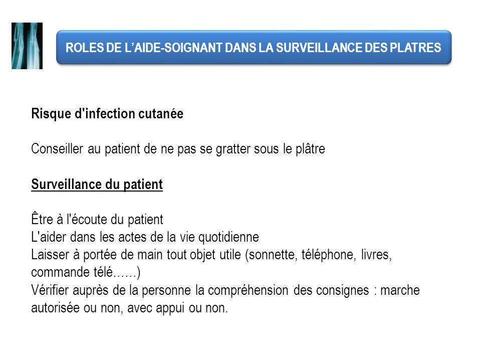 ROLES DE LAIDE-SOIGNANT DANS LA SURVEILLANCE DES PLATRES Risque d'infection cutanée Conseiller au patient de ne pas se gratter sous le plâtre Surveill