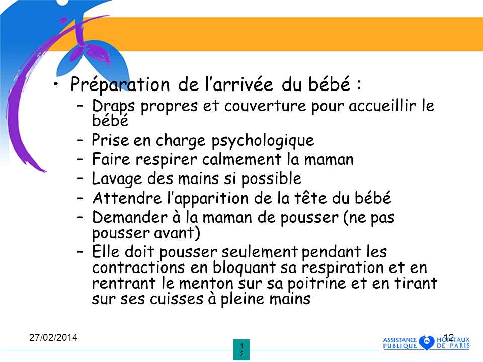 1212 27/02/201412 Préparation de larrivée du bébé : –Draps propres et couverture pour accueillir le bébé –Prise en charge psychologique –Faire respire