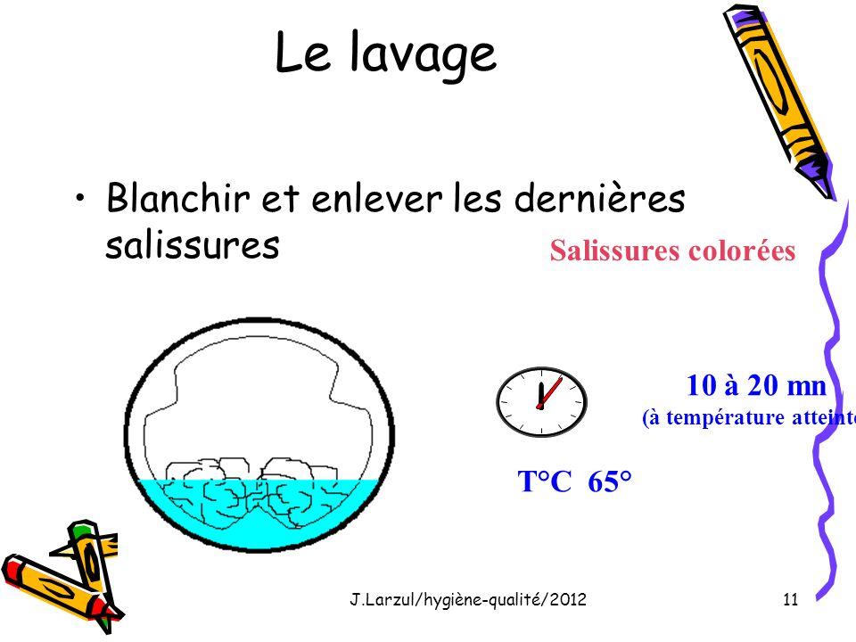 J.Larzul/hygiène-qualité/201211 Le lavage Blanchir et enlever les dernières salissures Salissures colorées 10 à 20 mn (à température atteinte) T°C 65°