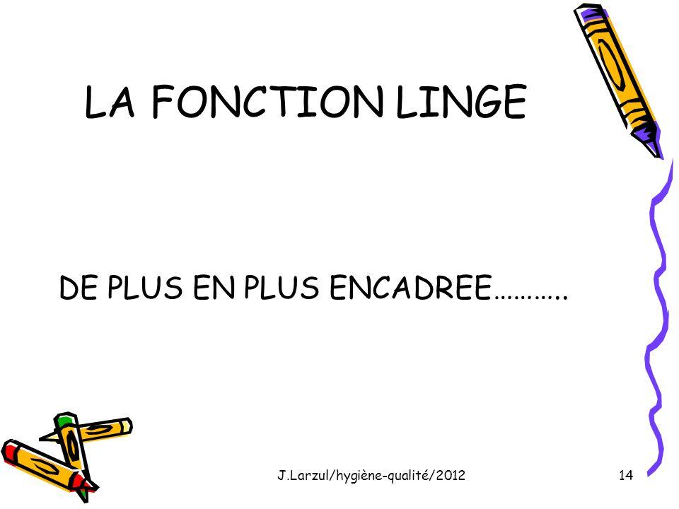 J.Larzul/hygiène-qualité/201214 LA FONCTION LINGE DE PLUS EN PLUS ENCADREE………..
