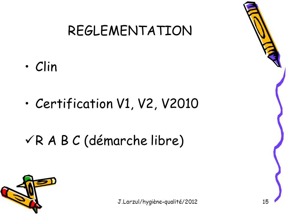 J.Larzul/hygiène-qualité/201215 REGLEMENTATION Clin Certification V1, V2, V2010 R A B C (démarche libre)