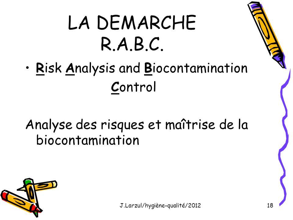 J.Larzul/hygiène-qualité/201218 LA DEMARCHE R.A.B.C. BRisk Analysis and Biocontamination Control Analyse des risques et maîtrise de la biocontaminatio