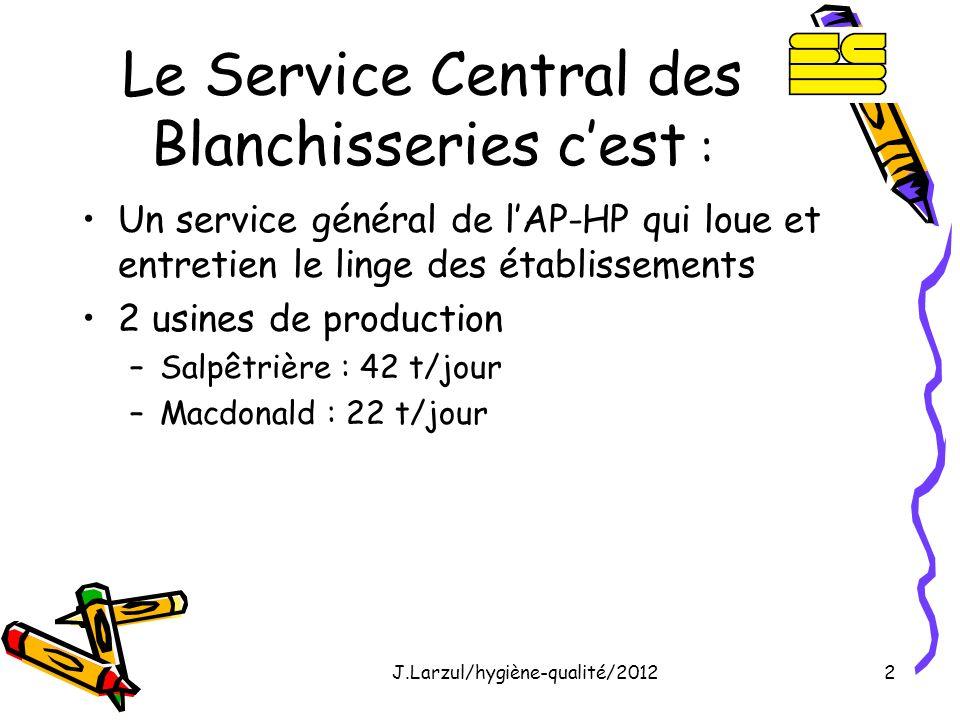 J.Larzul/hygiène-qualité/20122 Le Service Central des Blanchisseries cest : Un service général de lAP-HP qui loue et entretien le linge des établissem