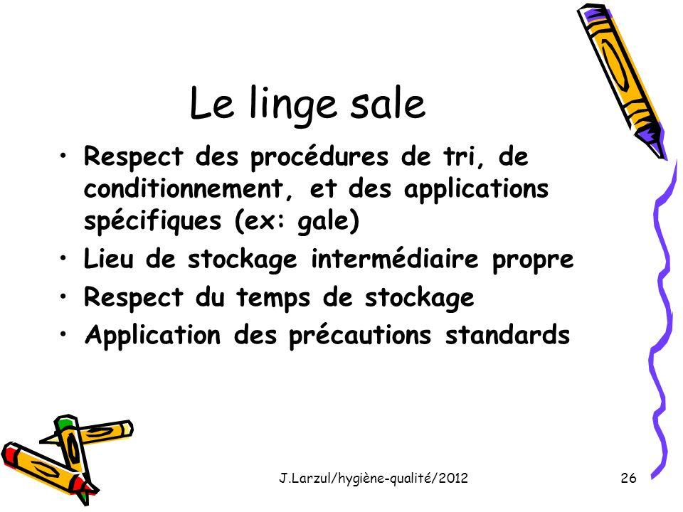 J.Larzul/hygiène-qualité/201226 Le linge sale Respect des procédures de tri, de conditionnement, et des applications spécifiques (ex: gale) Lieu de st