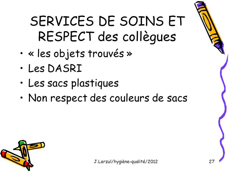 J.Larzul/hygiène-qualité/201227 SERVICES DE SOINS ET RESPECT des collègues « les objets trouvés » Les DASRI Les sacs plastiques Non respect des couleu