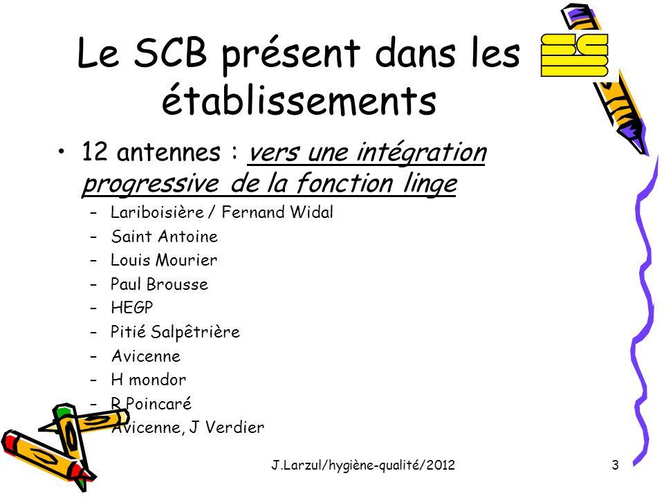 J.Larzul/hygiène-qualité/20123 Le SCB présent dans les établissements 12 antennes : vers une intégration progressive de la fonction linge –Lariboisièr