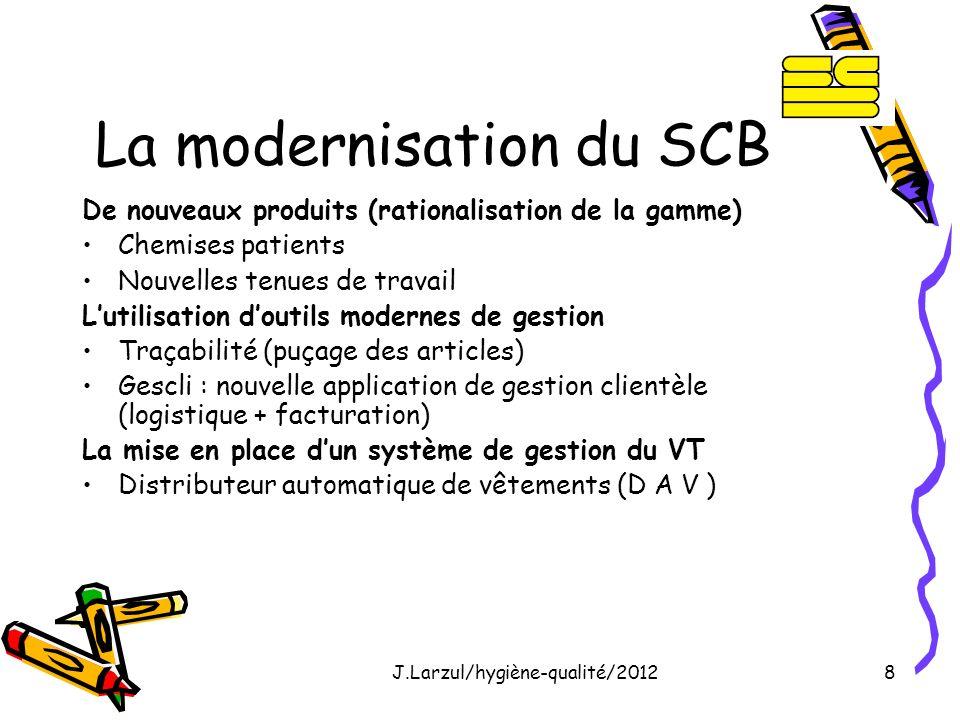 J.Larzul/hygiène-qualité/20128 La modernisation du SCB De nouveaux produits (rationalisation de la gamme) Chemises patients Nouvelles tenues de travai