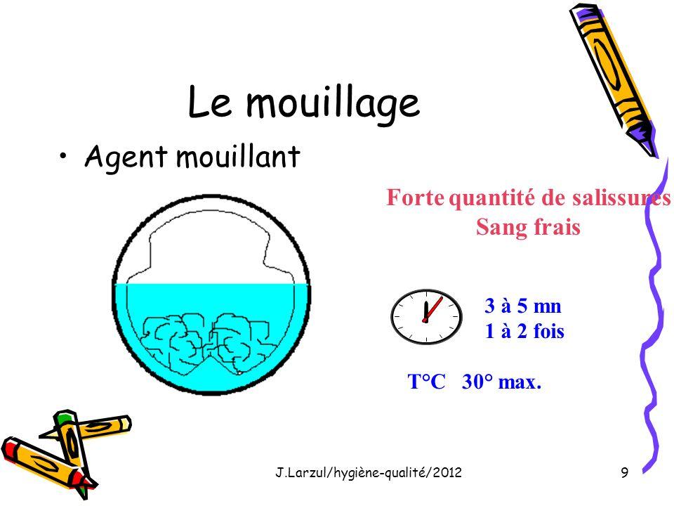 J.Larzul/hygiène-qualité/20129 Le mouillage Agent mouillant Forte quantité de salissures Sang frais 3 à 5 mn 1 à 2 fois T°C 30° max.