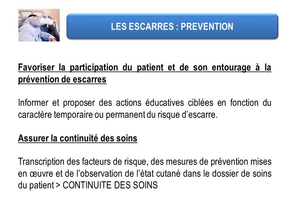 Favoriser la participation du patient et de son entourage à la prévention de escarres Informer et proposer des actions éducatives ciblées en fonction