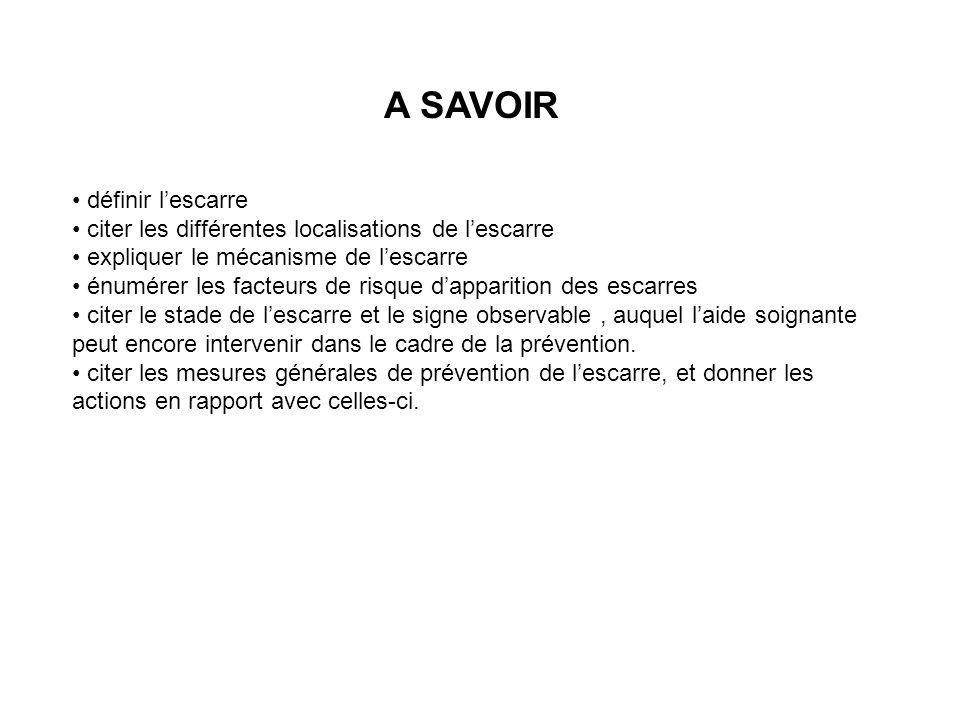 A SAVOIR définir lescarre citer les différentes localisations de lescarre expliquer le mécanisme de lescarre énumérer les facteurs de risque dappariti