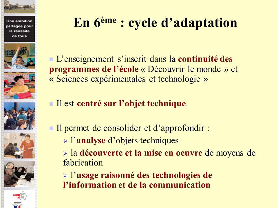 En 6 ème : cycle dadaptation Lenseignement sinscrit dans la continuité des programmes de lécole « Découvrir le monde » et « Sciences expérimentales et