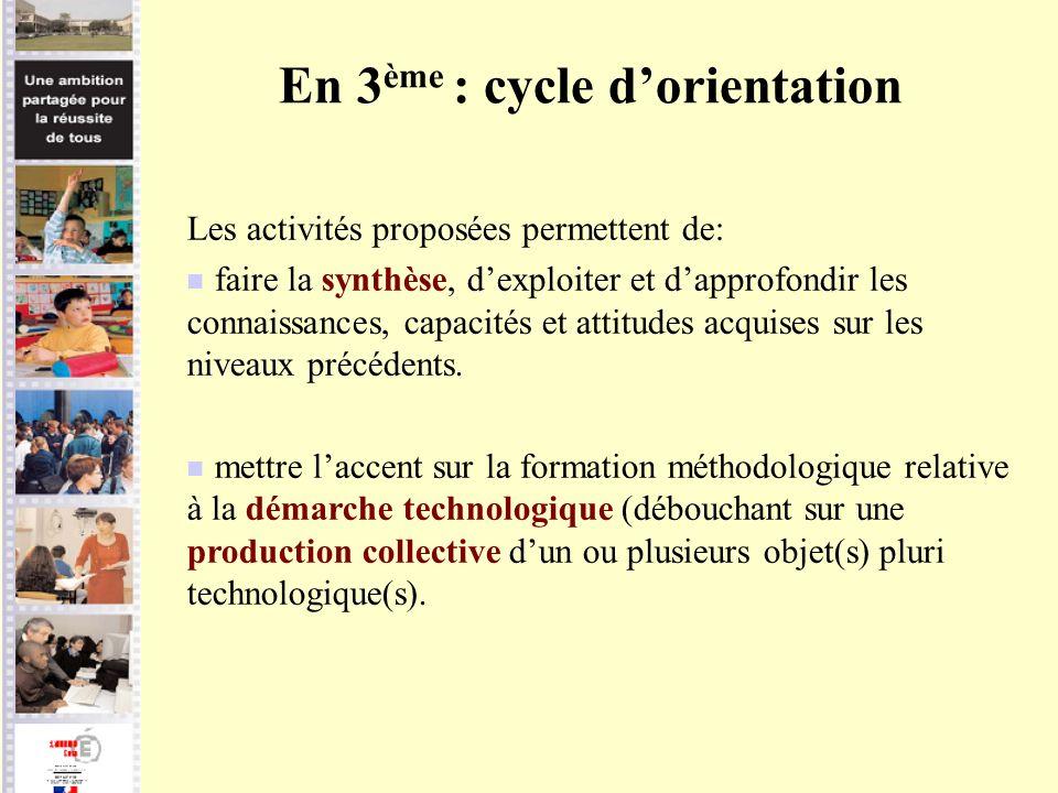 En 3 ème : cycle dorientation Les activités proposées permettent de: faire la synthèse, dexploiter et dapprofondir les connaissances, capacités et att