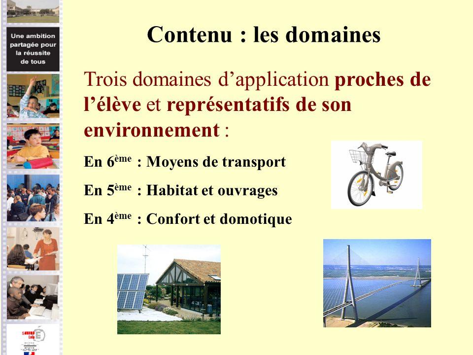 Trois domaines dapplication proches de lélève et représentatifs de son environnement : En 6 ème : Moyens de transport En 5 ème : Habitat et ouvrages E