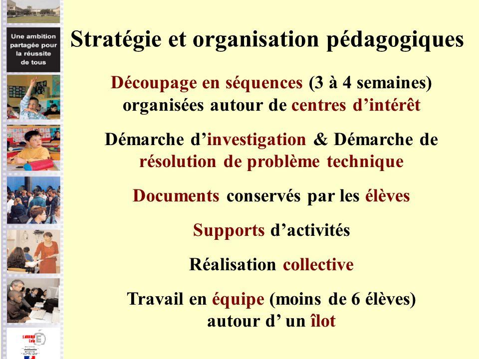 Stratégie et organisation pédagogiques Découpage en séquences (3 à 4 semaines) organisées autour de centres dintérêt Démarche dinvestigation & Démarch