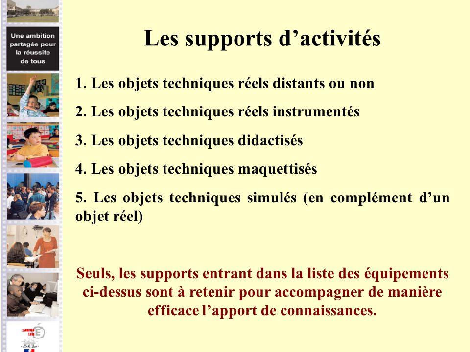 Les supports dactivités 1. Les objets techniques réels distants ou non 2. Les objets techniques réels instrumentés 3. Les objets techniques didactisés