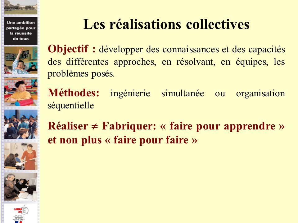 Les réalisations collectives Objectif : développer des connaissances et des capacités des différentes approches, en résolvant, en équipes, les problèm
