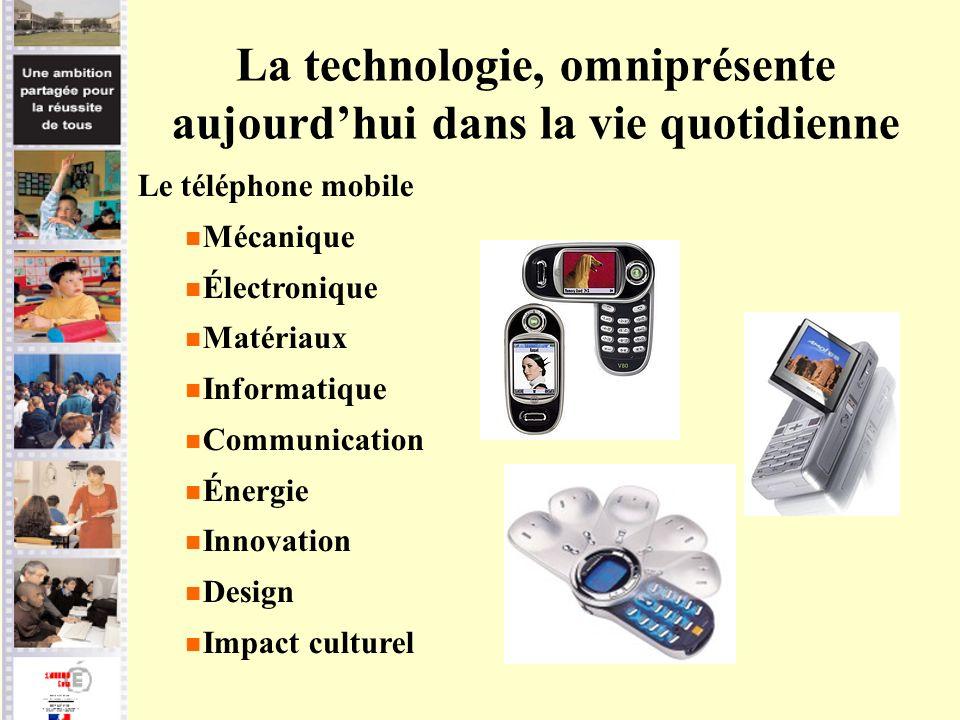La technologie, omniprésente aujourdhui dans la vie quotidienne Le téléphone mobile Mécanique Électronique Matériaux Informatique Communication Énergi