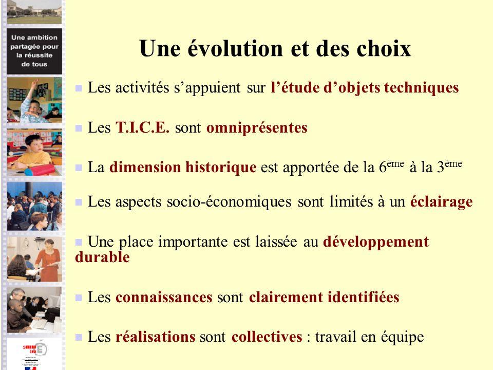 Une évolution et des choix Les activités sappuient sur létude dobjets techniques Les T.I.C.E. sont omniprésentes La dimension historique est apportée