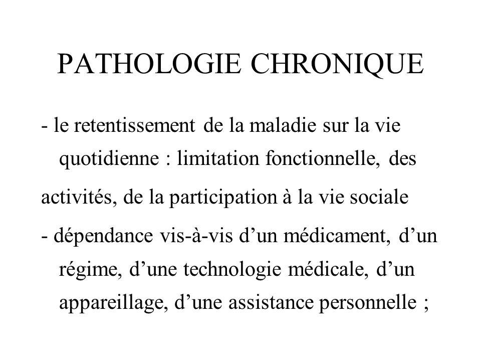 PATHOLOGIE CHRONIQUE - le retentissement de la maladie sur la vie quotidienne : limitation fonctionnelle, des activités, de la participation à la vie
