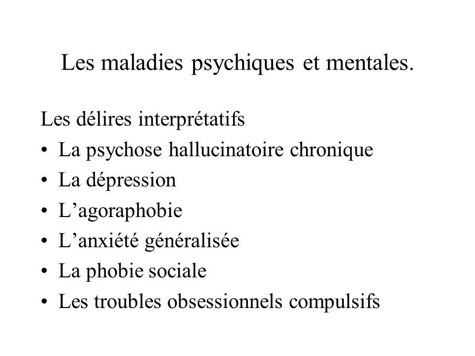 Les maladies psychiques et mentales. Les délires interprétatifs La psychose hallucinatoire chronique La dépression Lagoraphobie Lanxiété généralisée L
