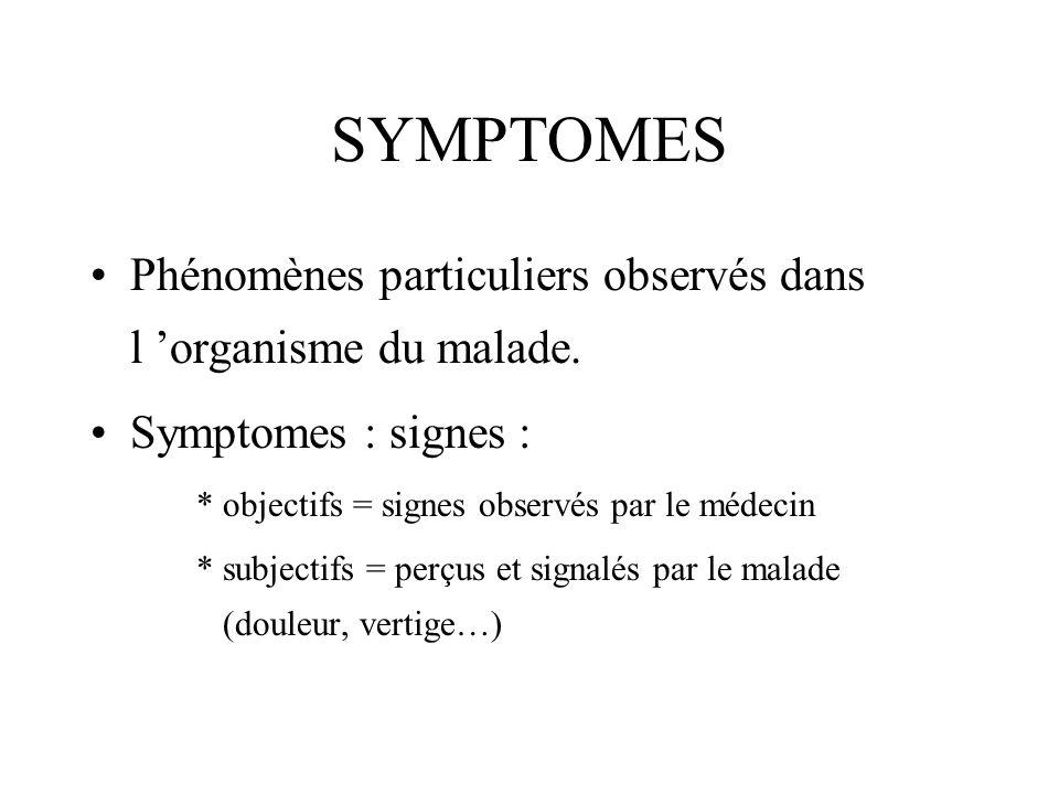 SYMPTOMES Phénomènes particuliers observés dans l organisme du malade. Symptomes : signes : * objectifs = signes observés par le médecin * subjectifs